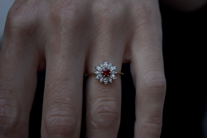 Patience Jewellery Bespoke Ruby Diamond Cluster Engagement Ring (2)
