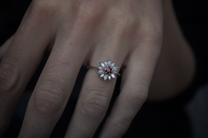 Patience Jewellery Edinburgh Bespoke Ruby and diamond engagement ring